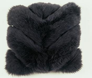 Black Chevron Sheepskin Pillow