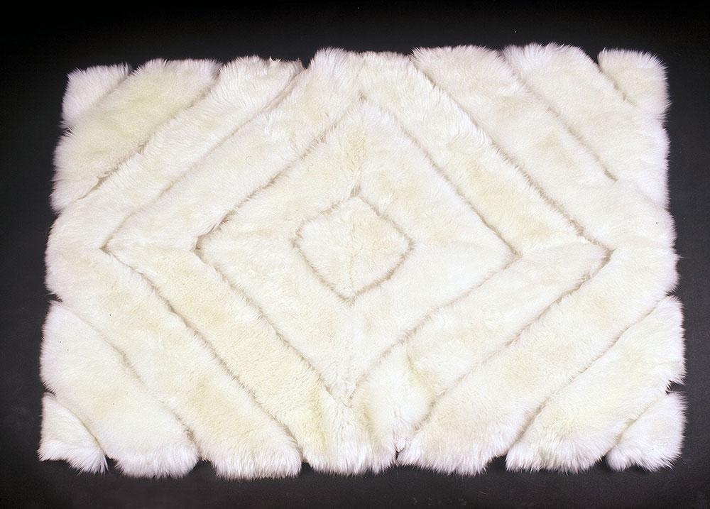 Designer white sheepskin rug