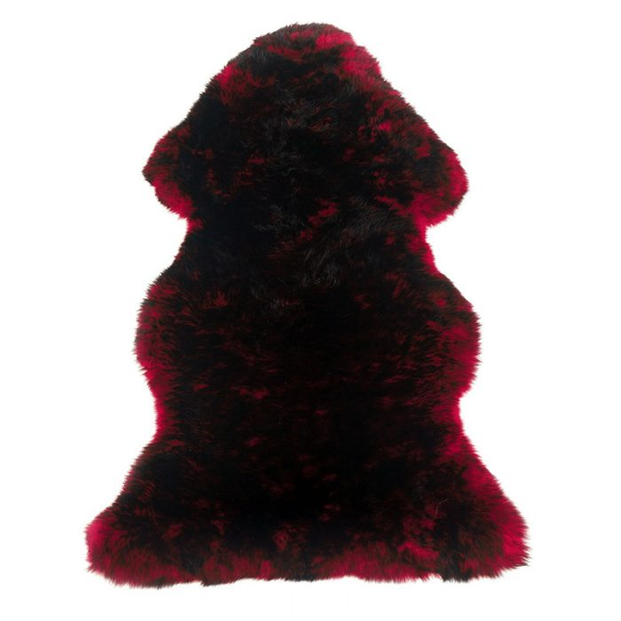 sheepskin-red-black rug