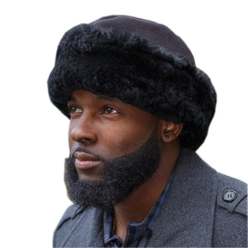 Sheepskin Fur Hat English Black