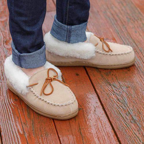 Sheepskin Roll Cuff Moccasin Slippers