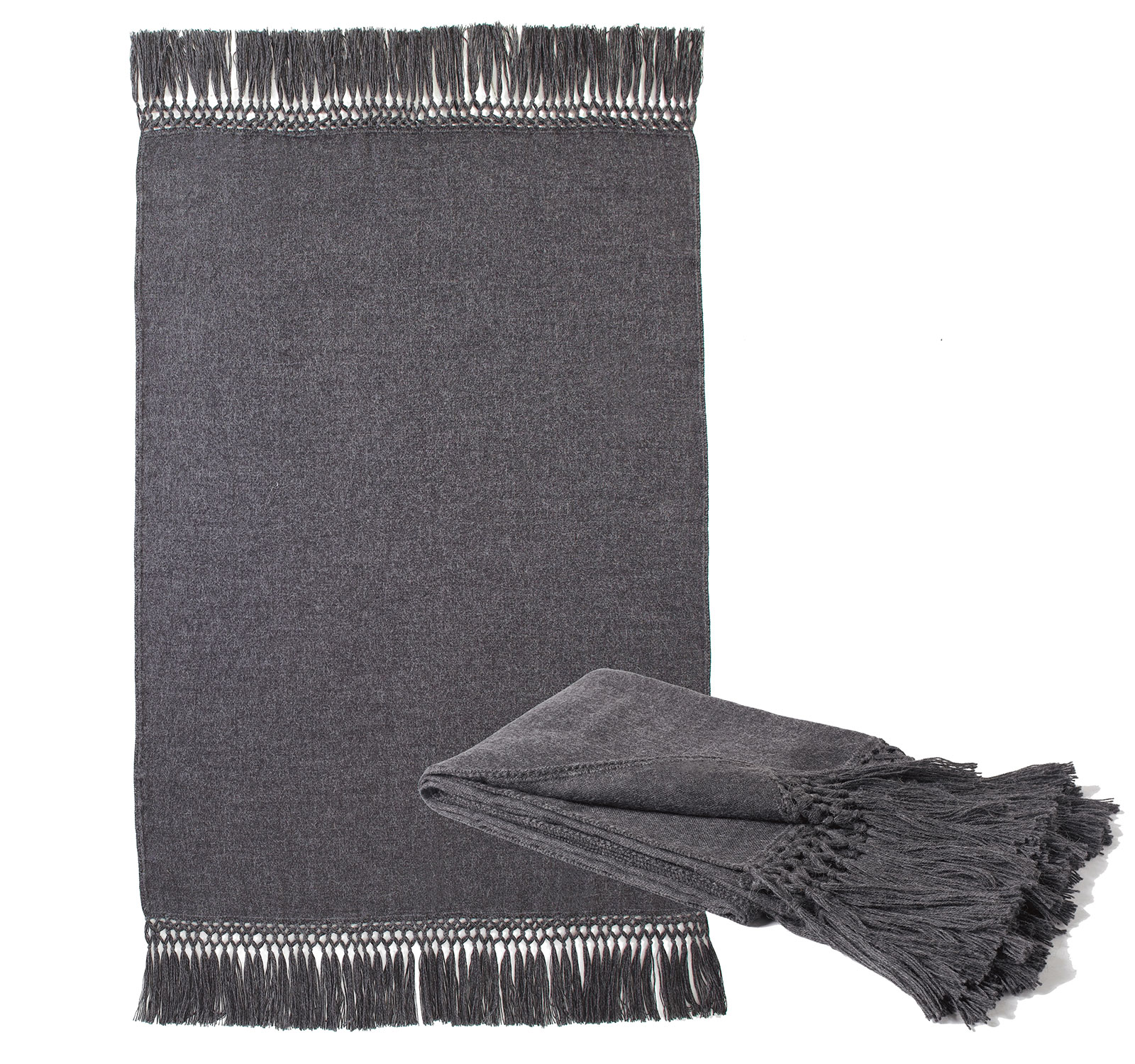 Charcoal Fringed Alpaca Throw