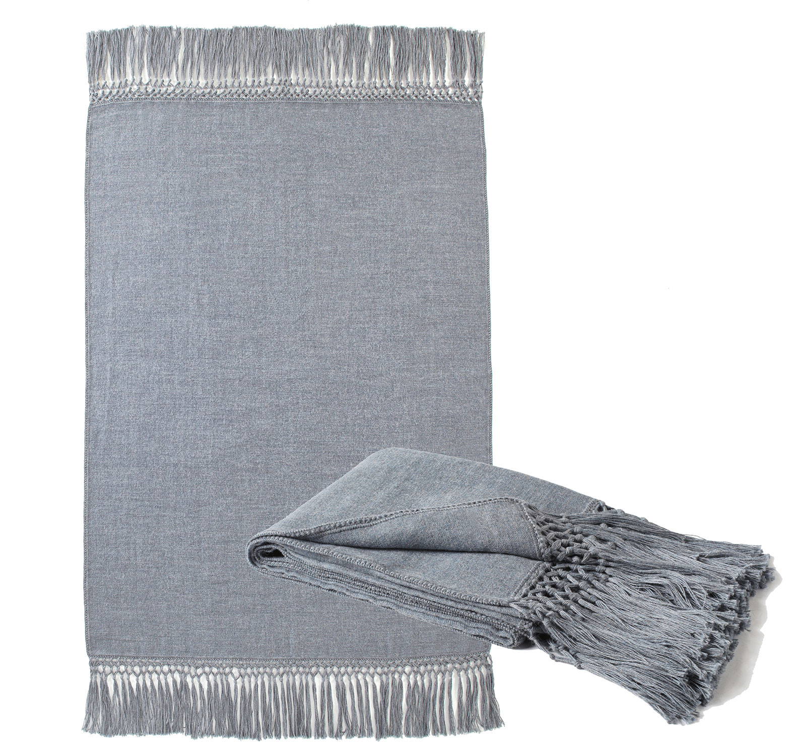 Blue Gray Fringed Alpaca Throw