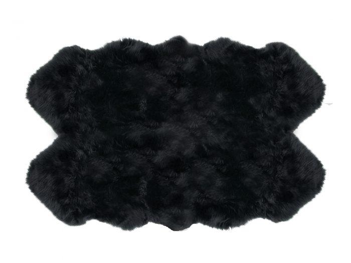 Sheepskin Rug 4 Pelt Black