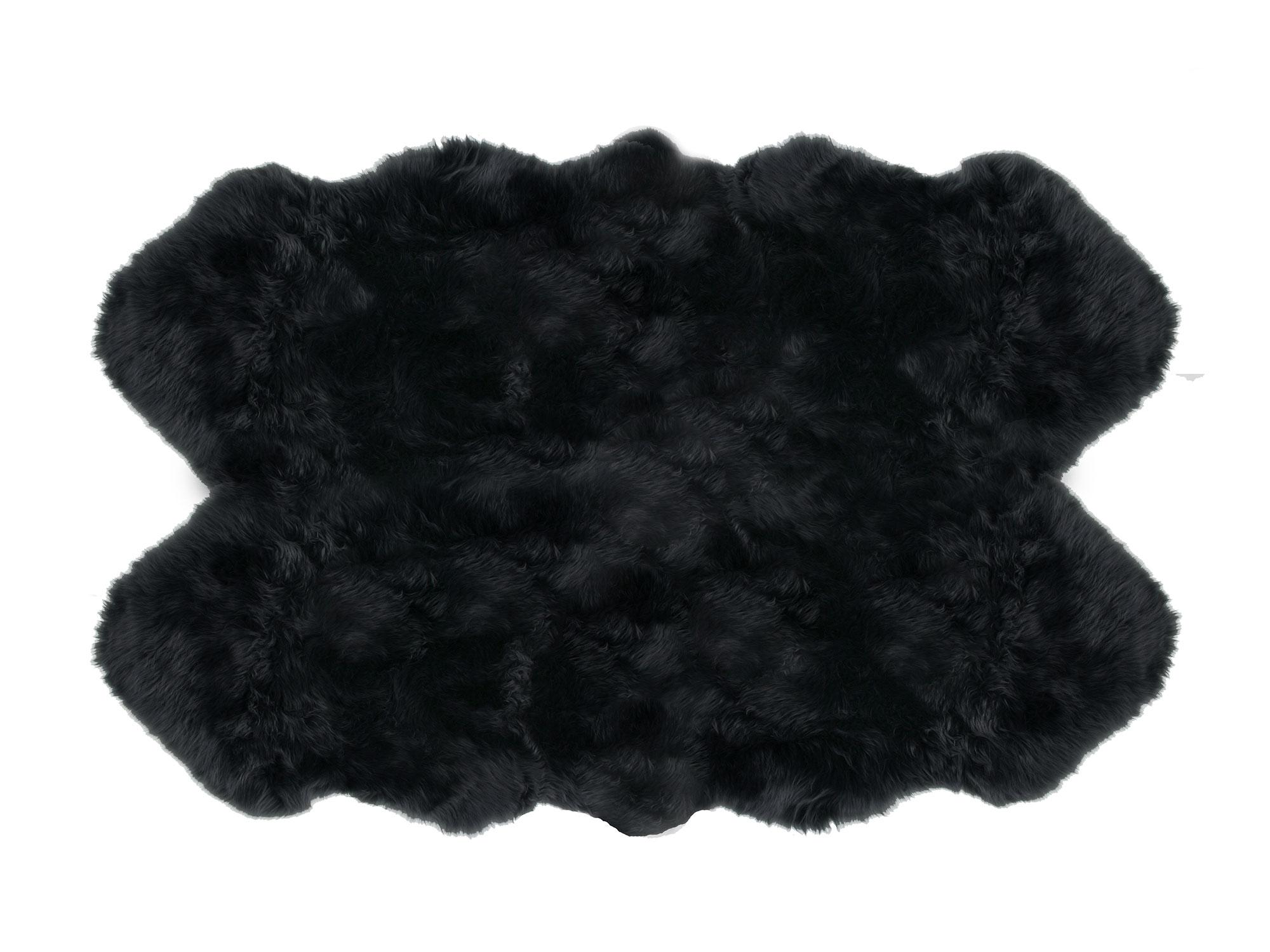 Sheepskin 4 Pelt Large Fur Rugs Black