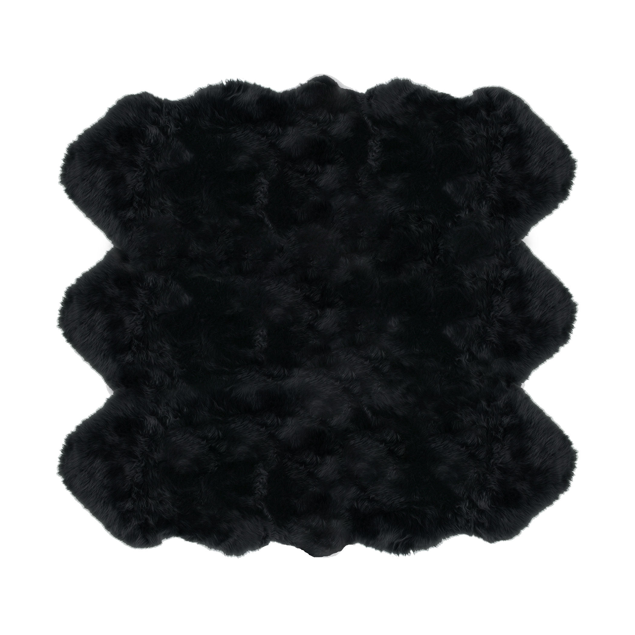 Sheepskin Rug 6 Pelt Black