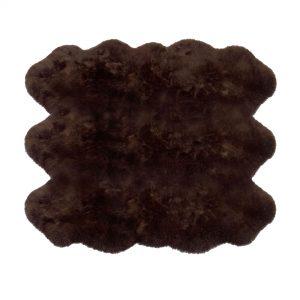 Sheepskin Rug 6 Pelt Chocolate Brown