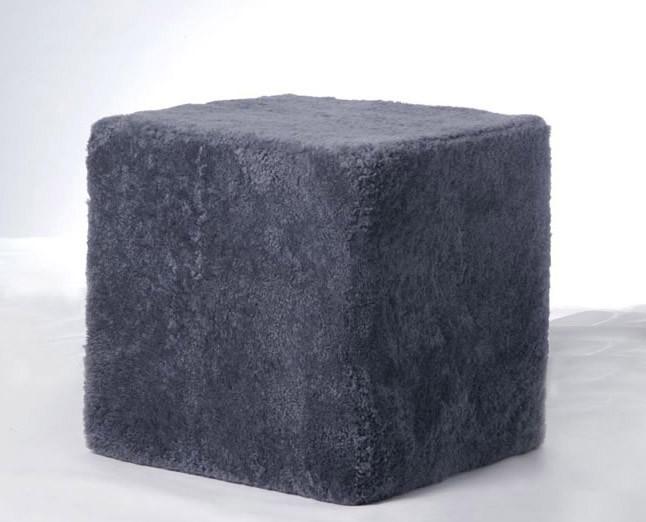 Gray Sheepskin Cube Chair