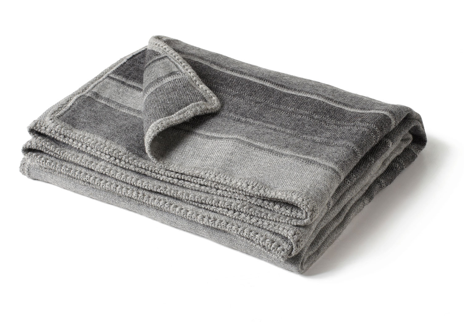 Gray Striped Alpca Throw