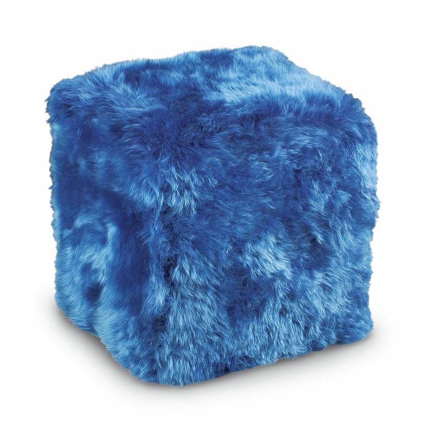 Sheepskin Cube Chair Blue