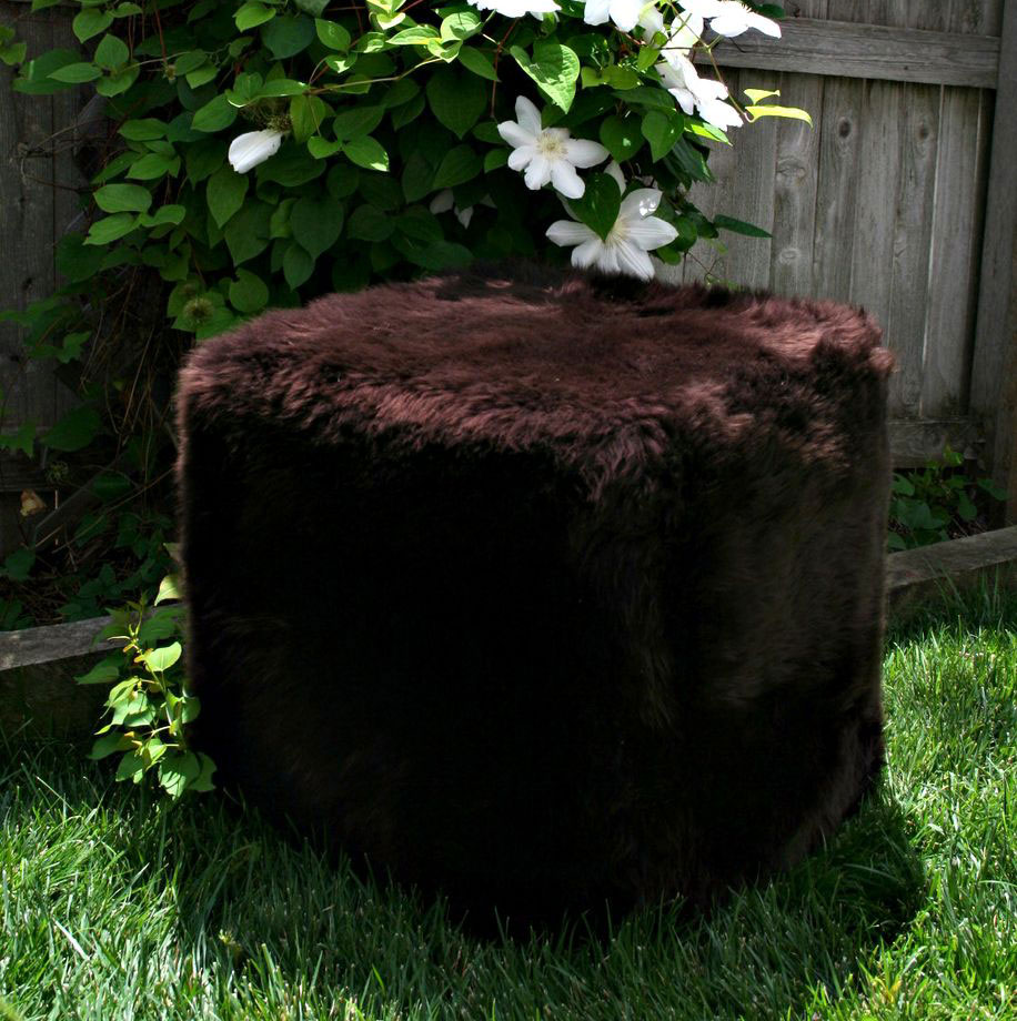 Sheepskin Cube Chair Brown