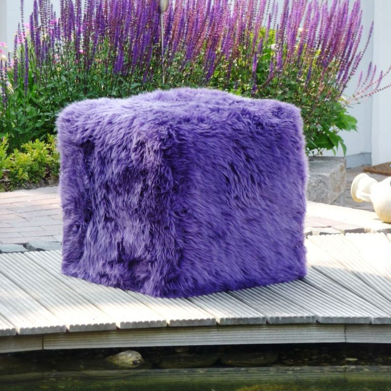 Sheepskin Cube Chair Purple