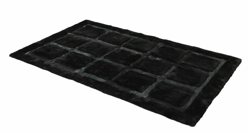 Shearling and Cowhide Designer Rug