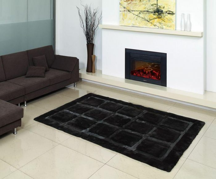 Shearling and Cowhide Black Rug