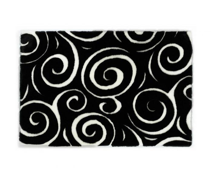 Sherling Designer Rug Boa Black White