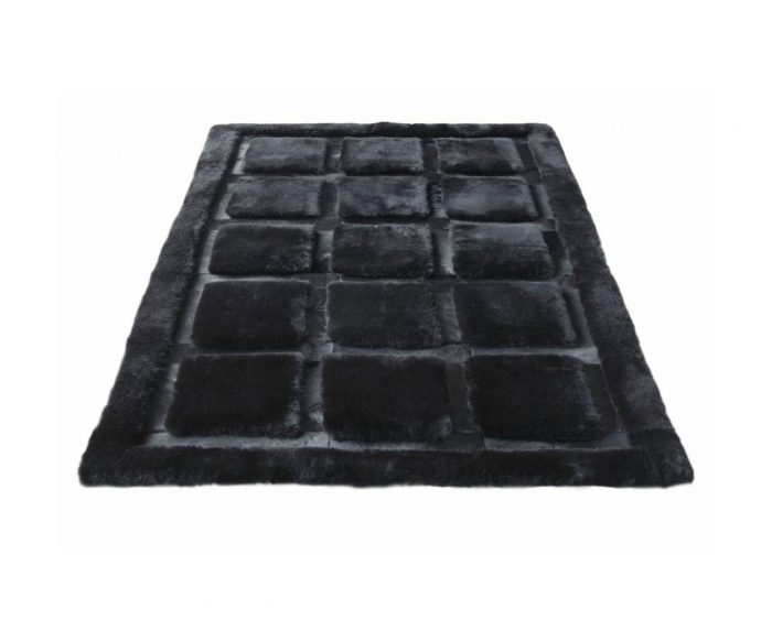Shearling and Cowhide Rug Black