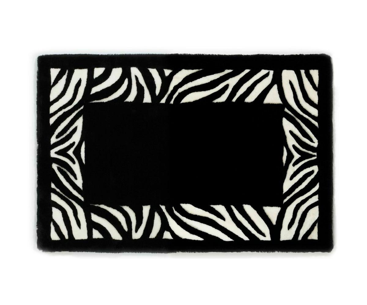 Shearling Designer Rug Black White Zebra