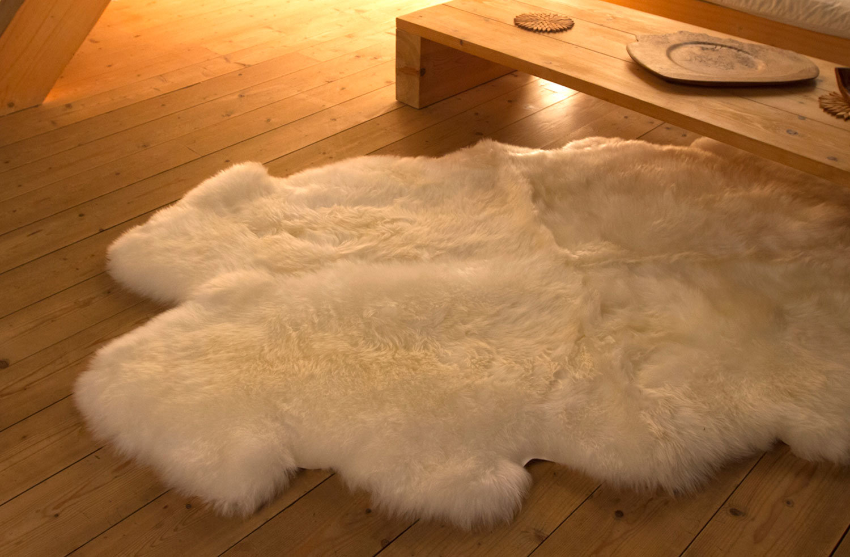 Auskin Premium Sheepskin 4 Pelt Large Fur Rugs Ivory