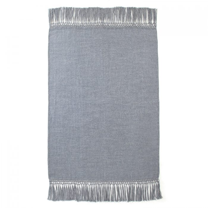 Cool Gray Alpaca Throw with Fringe
