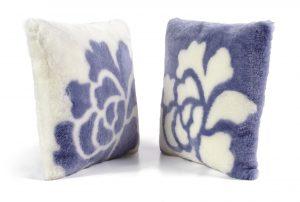 Violet Shearling Pillows Flower