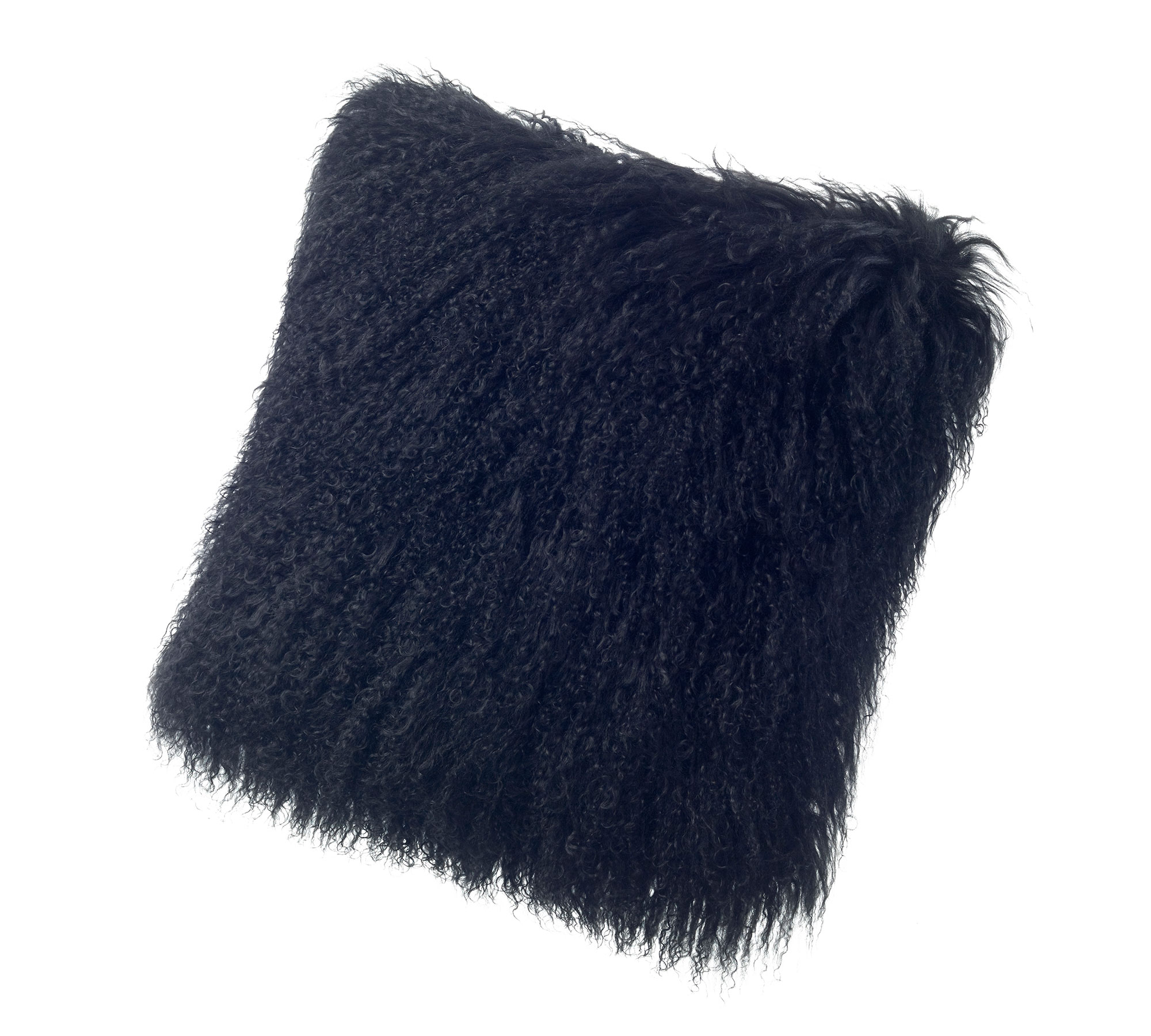 Tibetan Lambskin Curly Fur throw pillows black