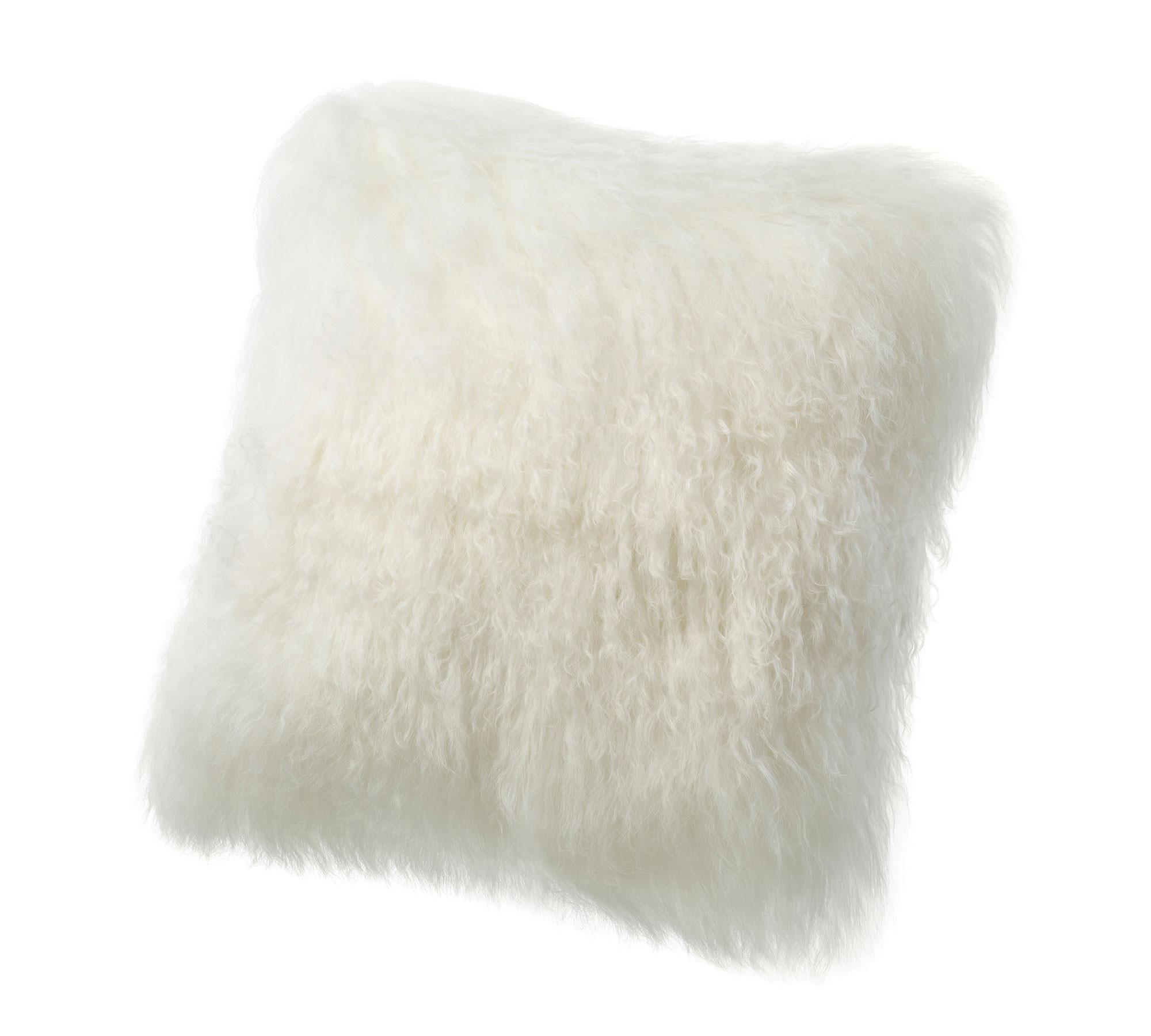Tibetan Lambskin Curly Fur throw pillows ivory white