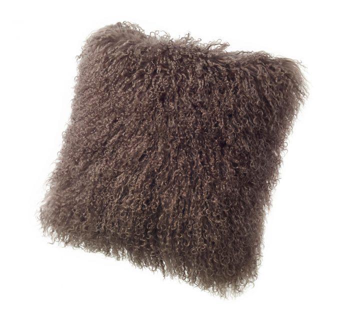 Tibetan Lambskin Curly Fur throw pillows brown