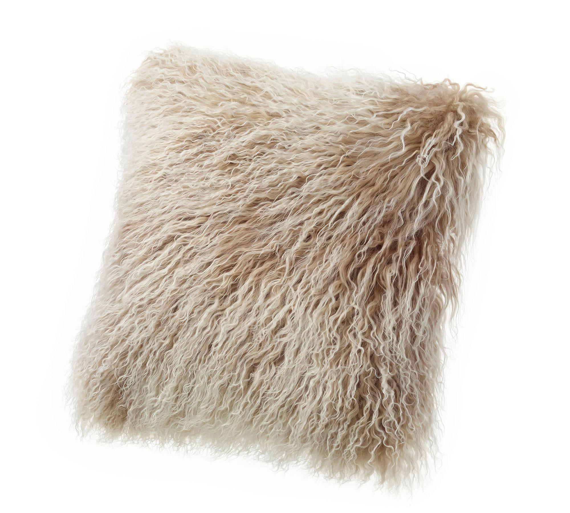 Tibetan Lambskin Curly Fur throw pillows tan