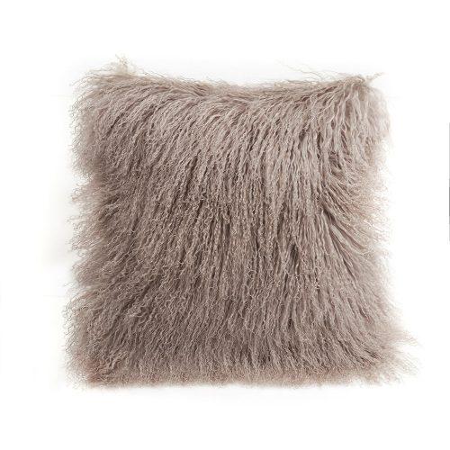 "Tibetan Lambskin 20"" Cushion Tan Birtch"