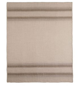 Taupe Striped Woven Baby Alpaca Throw
