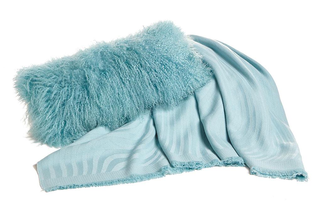 Robins egg blue Tibetan throw pillow and Alpaca Throw