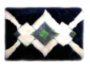 Sheepskin Rug in Seahawks colors