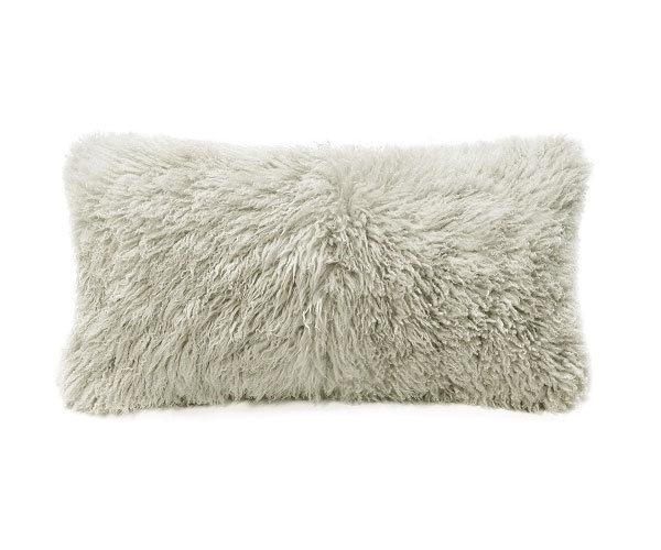 Curly Fur Sheepskin Pillow Bamboo Beige