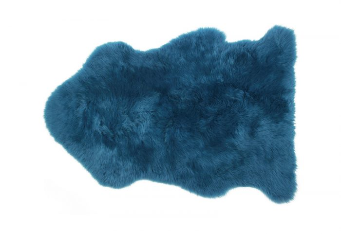 Teal Blue Sheepskin Fur Rug