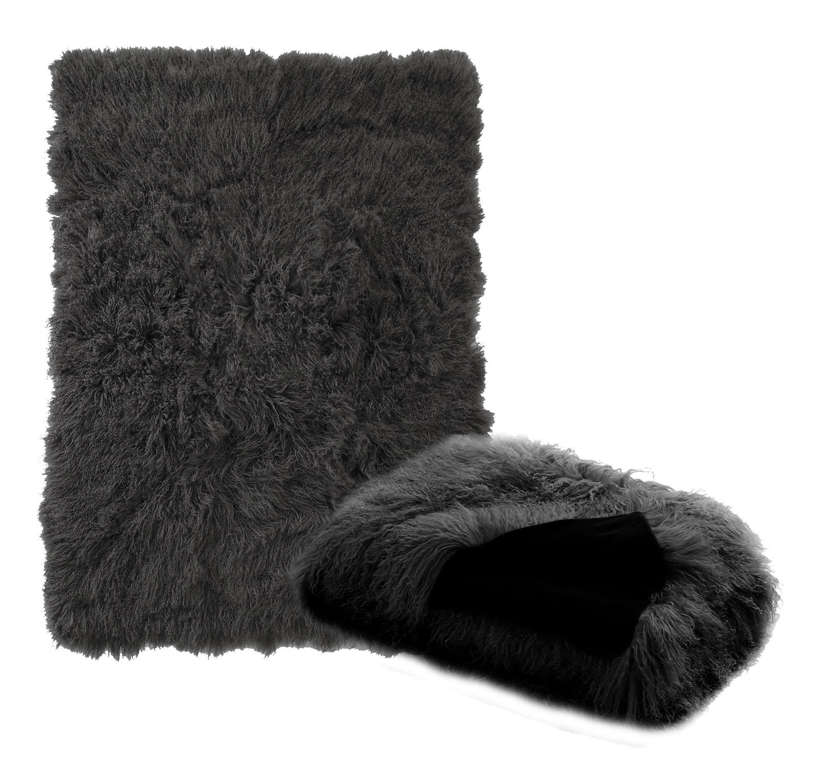 Tibetan Lambskin Throw Charcoal Gray