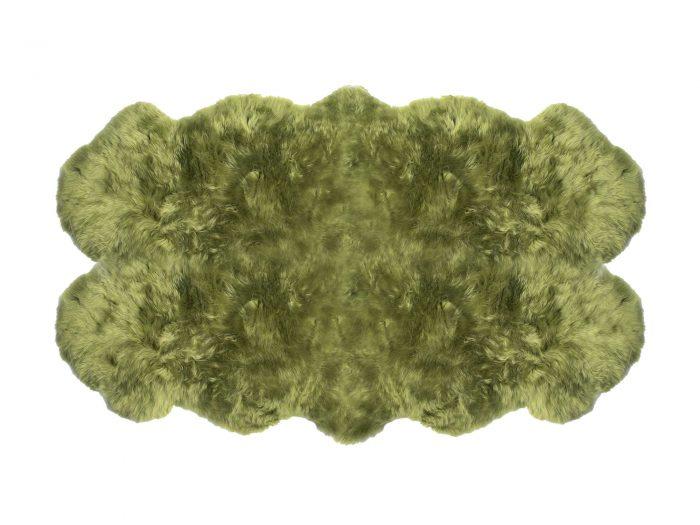 Auskin Sheepskin Lime Green 4 Pelt Rug