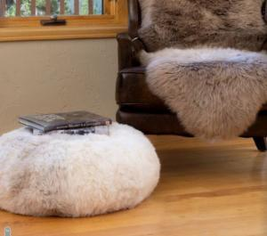 Natural Melange Pouf Ottoman Shorn Icelandic Sheepskin