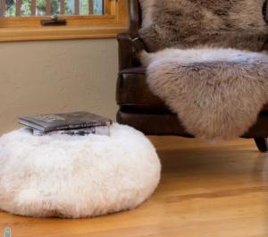 Natural White Pouf Ottoman Shorn Icelandic Sheepskin